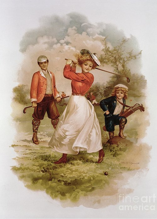 Playing; Golfers; Golfer; Player; Players; Male; Female; Couple; Child; Boy; Caddy; Family; Costume; Sport; Pastimes; Leisure; Outdoors; Game; Woman Golfer; Golf Greeting Card featuring the painting Golfing by Ellen Hattie Clapsaddle