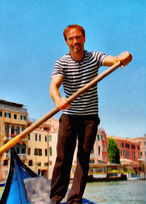 Europe Greeting Card featuring the painting Gondolier by Jeffrey Kolker