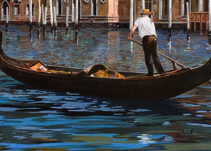 Venice Greeting Card featuring the painting Gondoliere Sul Canale by Guido Borelli