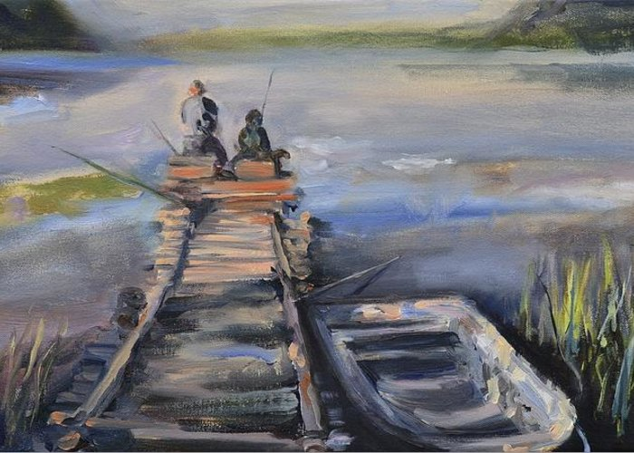 Relaxation Greeting Card featuring the painting Gone Fishin' by Donna Tuten