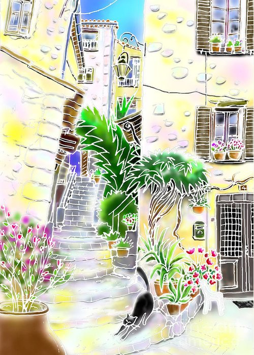 Good afternoon greeting card for sale by hisayo ohta village greeting card featuring the digital art good afternoon by hisayo ohta m4hsunfo