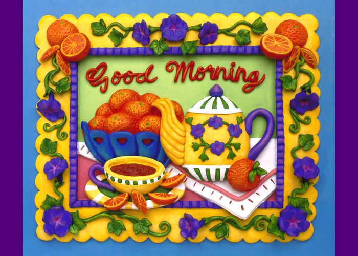 Food Greeting Card featuring the mixed media Good Morning by Amy Vangsgard