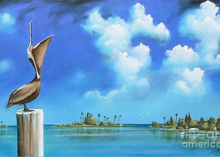 Acrylics Greeting Card featuring the painting Good Morning Florida by - Artificium -