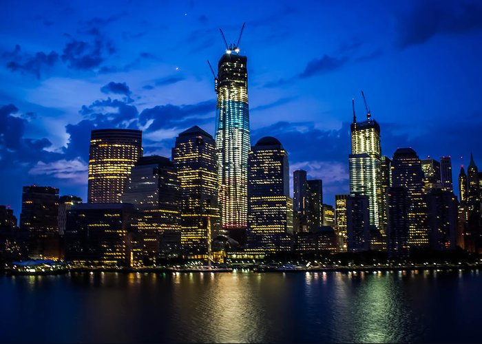 Good night new york greeting card for sale by sara frank new york city greeting card featuring the photograph good night new york by sara frank m4hsunfo