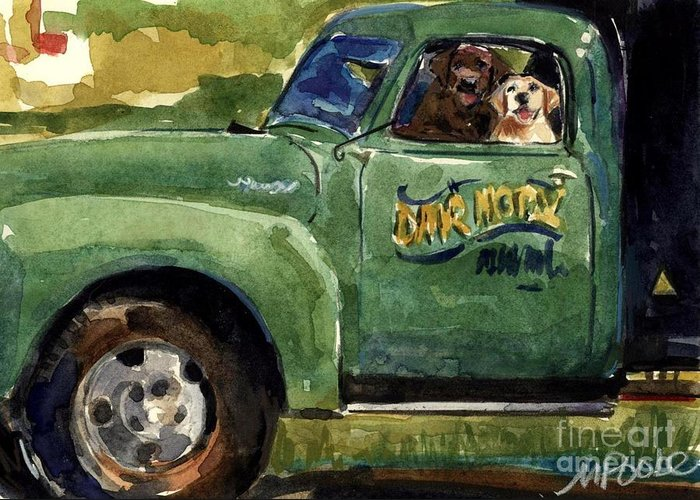 Dogs In Truck Greeting Card featuring the painting Good Ole Boys by Molly Poole