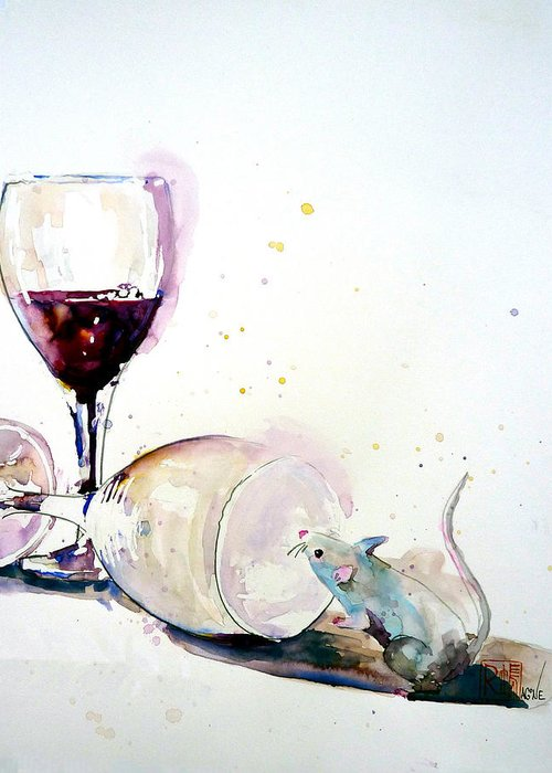 Wine Greeting Card featuring the painting Good To The Last Drop by Patricia Ragone