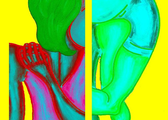 Pop Art Greeting Card featuring the painting Goodbye by Patrick J Murphy