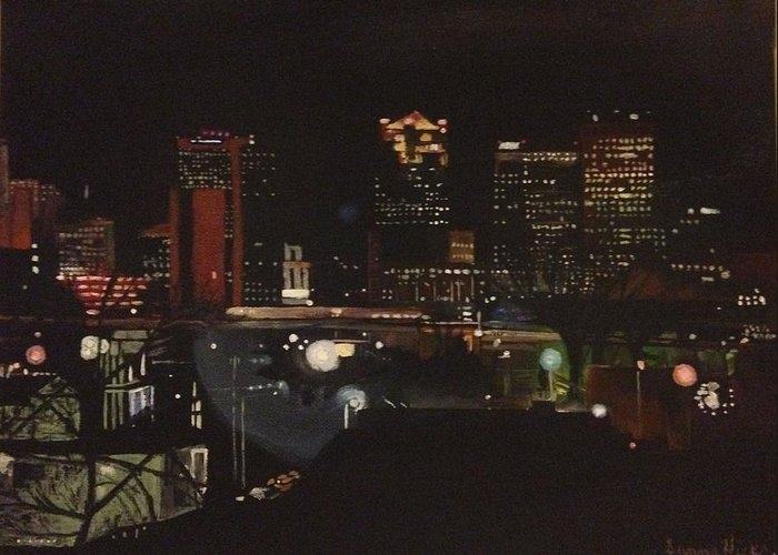 Skyline Greeting Card featuring the painting Goodnight Birmingham by Sunny Hicks