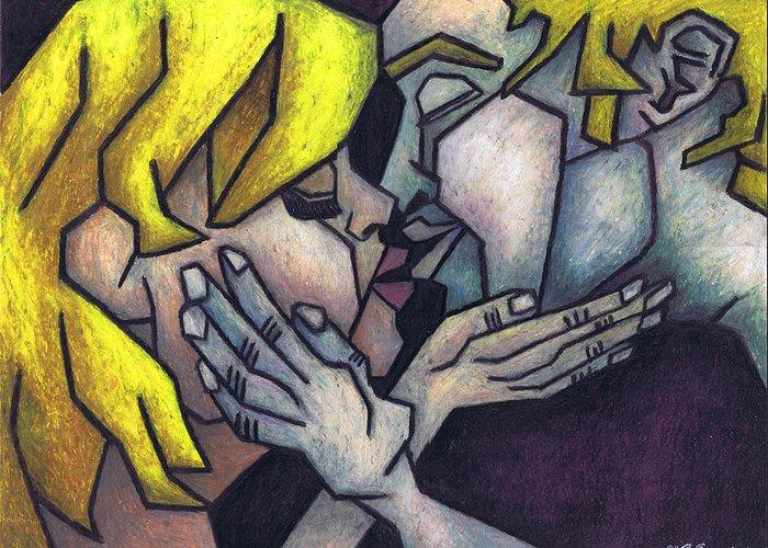 Goodnight Kiss Greeting Card featuring the painting Goodnight Kiss by Kamil Swiatek