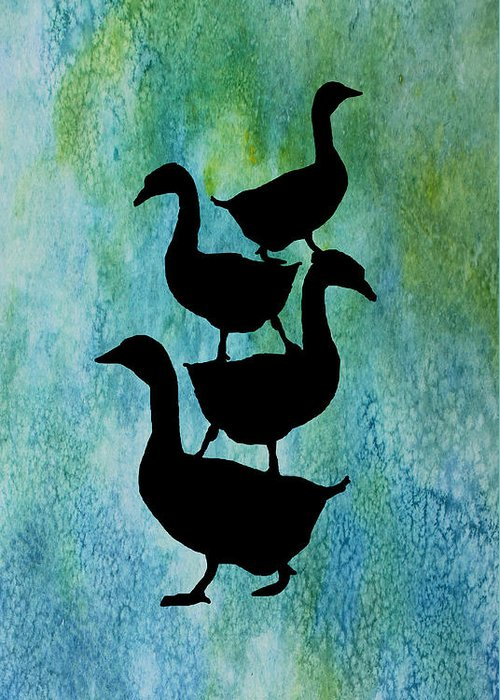 Geese Mixed Media Greeting Cards