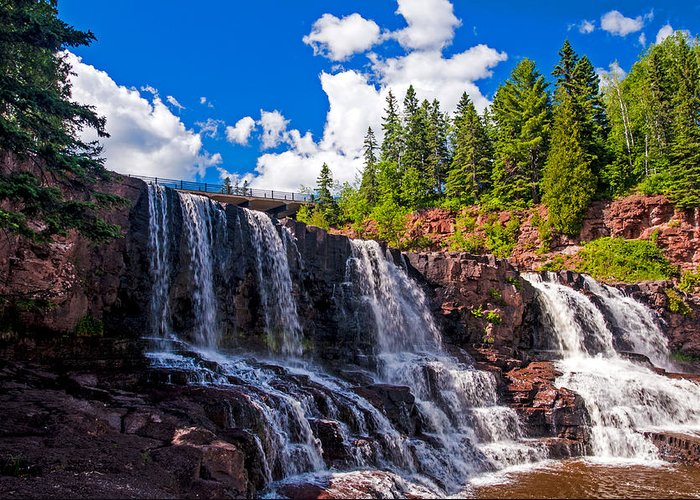 Gooseberry Falls; Waterfall; Water; North Shore Drive; Minnesota Greeting Card featuring the photograph Gooseberry Falls by Lonnie Paulson