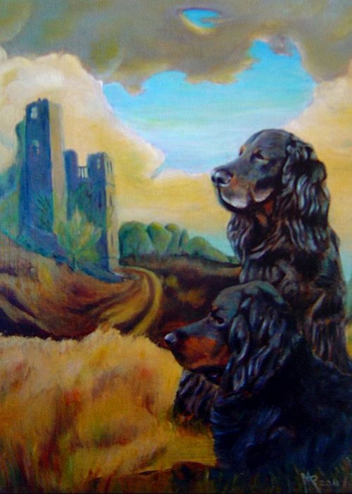 Gorden Setter Greeting Card featuring the painting Gorden Setters by Maxx Phoenixx