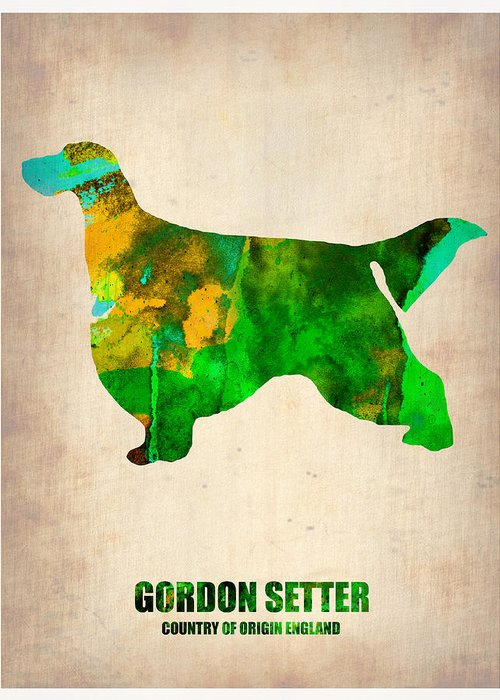 Gordon Setter Greeting Card featuring the painting Gordon Setter Poster 2 by Naxart Studio