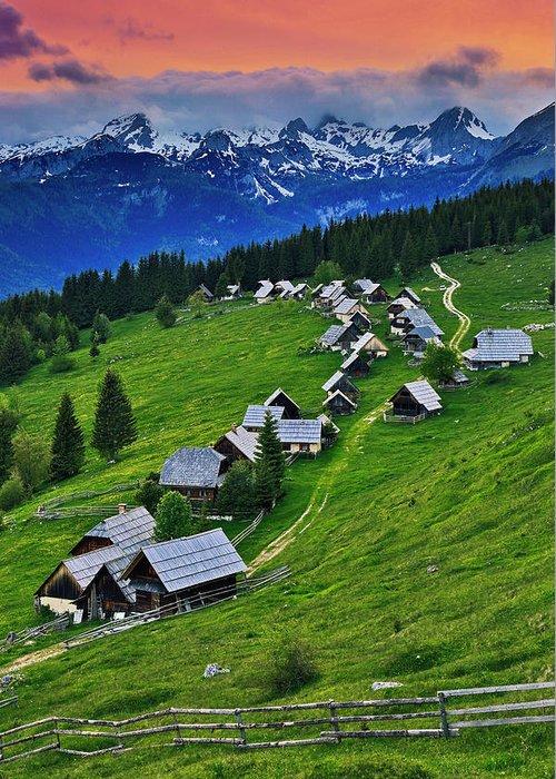 Nobody Greeting Card featuring the photograph Goreljek Shepherding Village In Alpine by Johnathan Ampersand Esper