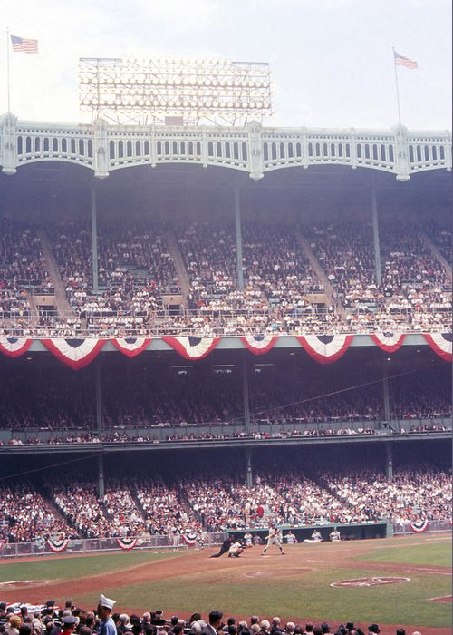 Marvin Newman Greeting Card featuring the photograph Gorgeous View Of Old Yankee Stadium by Retro Images Archive
