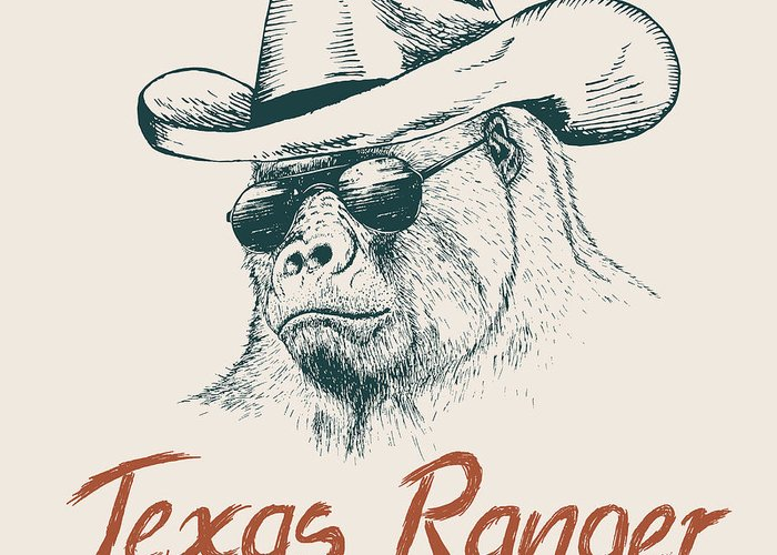 Dress Greeting Card featuring the digital art Gorilla Like A Texas Ranger Dressed In by Dimonika
