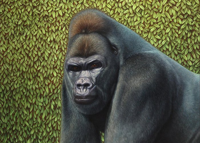 Gorilla Greeting Card featuring the painting Gorilla With A Hedge by James W Johnson