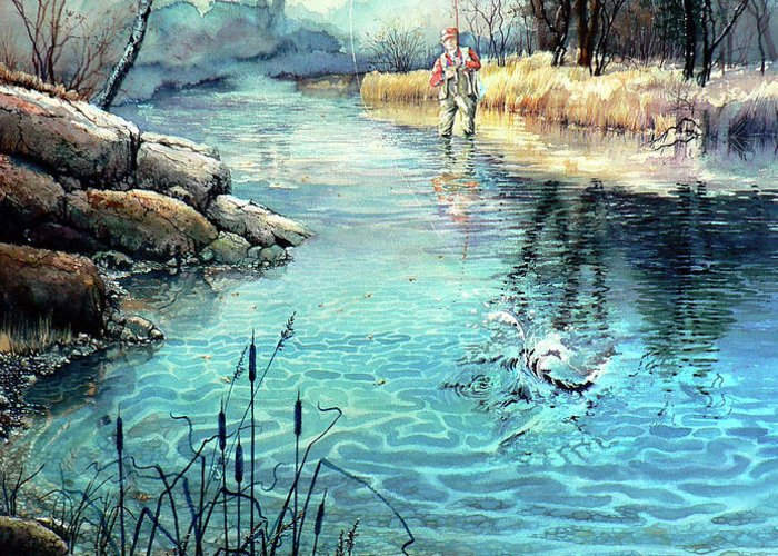 Fly Fishing Greeting Card featuring the painting Gotcha by Hanne Lore Koehler
