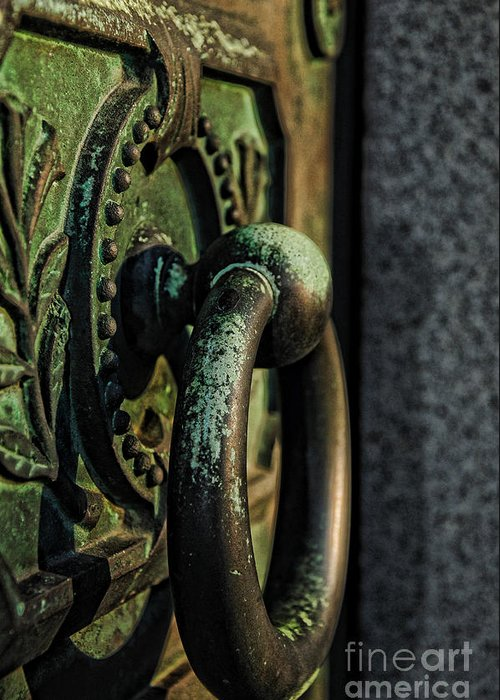 Crypt Door Knocker Greeting Card featuring the photograph Goth - Crypt Door Knocker by Paul Ward