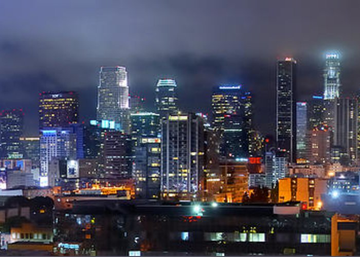 Los Angeles Skyline Greeting Card featuring the photograph Gotham City - Los Angeles Skyline Downtown At Night by Jon Holiday