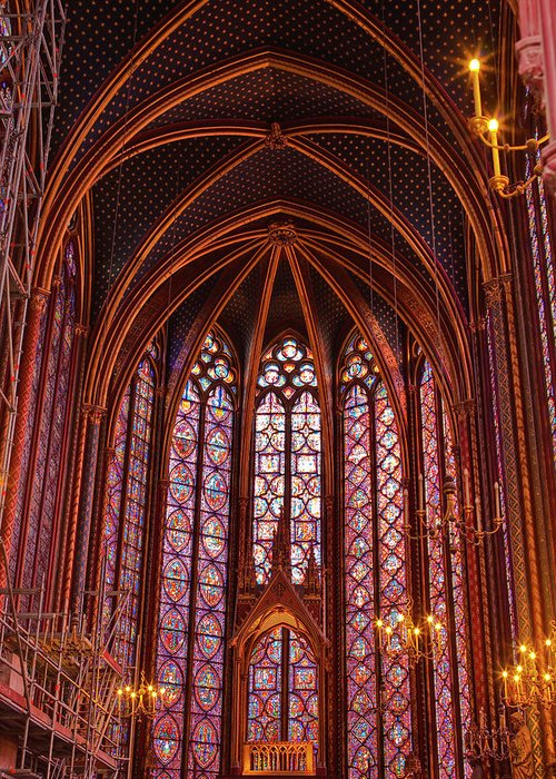 Gothic Style Greeting Card featuring the photograph Gothic Architecture Inside Sainte by Julian Elliott Photography