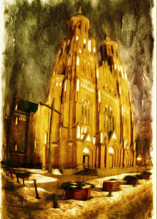Architecture Greeting Card featuring the digital art Gothic Cathedral by Jaroslaw Grudzinski