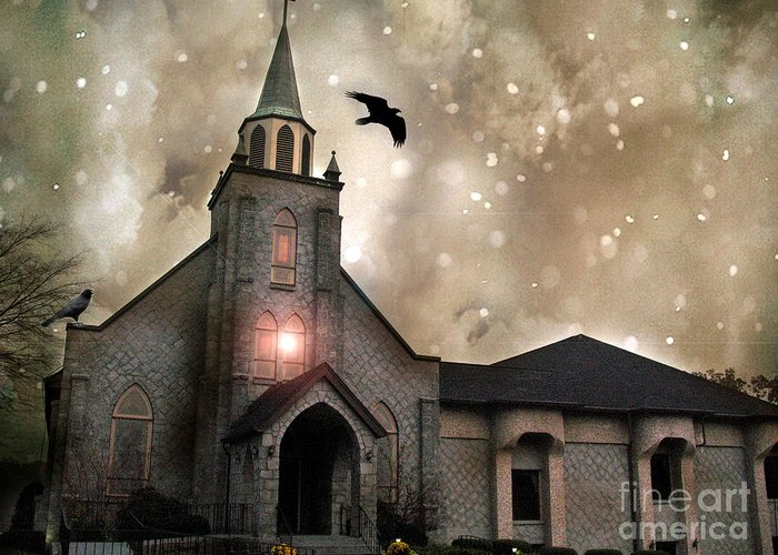 Surreal Gothic Church Greeting Card featuring the photograph Gothic Surreal Haunted Church and Steeple With Crows and Ravens Flying by Kathy Fornal
