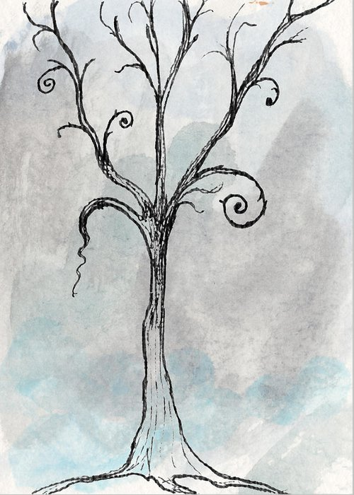 Tree Greeting Card featuring the drawing Gothic Tree by Jacquie Gouveia