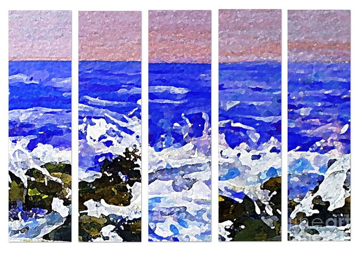 Polyptypch Greeting Card featuring the painting Gottah See Waves by Rita Brown