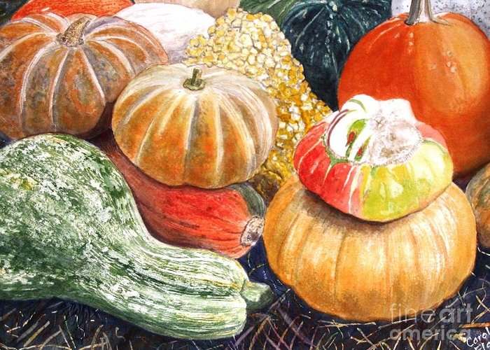 Gourds Greeting Card featuring the painting Gourds by Carol Flagg