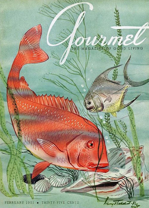 Illustration Greeting Card featuring the photograph Gourmet Cover Featuring A Snapper And Pompano by Henry Stahlhut
