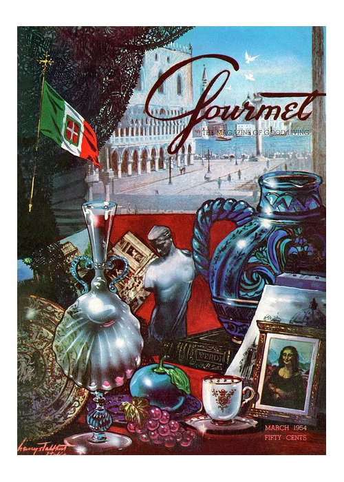 Food Greeting Card featuring the photograph Gourmet Cover Featuring A Variety Of Italian by Henry Stahlhut