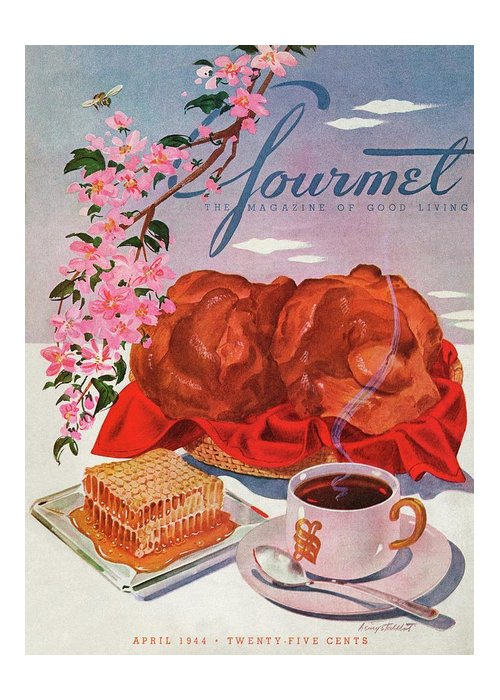 Food Greeting Card featuring the photograph Gourmet Cover Illustration Of A Basket Of Popovers by Henry Stahlhut