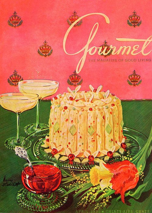 Illustration Greeting Card featuring the photograph Gourmet Cover Illustration Of A Molded Rice by Henry Stahlhut