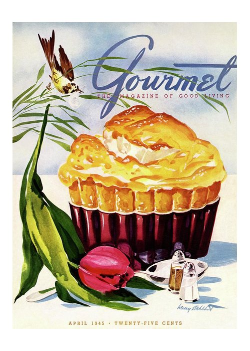 Illustration Greeting Card featuring the photograph Gourmet Cover Illustration Of A Souffle And Tulip by Henry Stahlhut