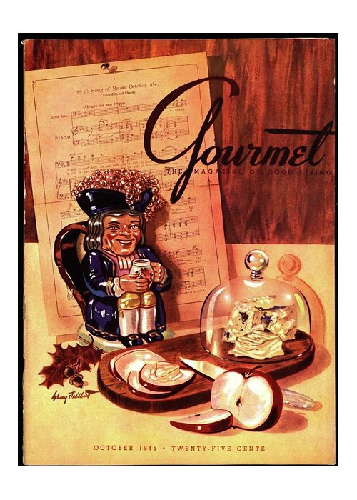 Illustration Greeting Card featuring the photograph Gourmet Cover Illustration Of A Tray Of Cheese by Henry Stahlhut
