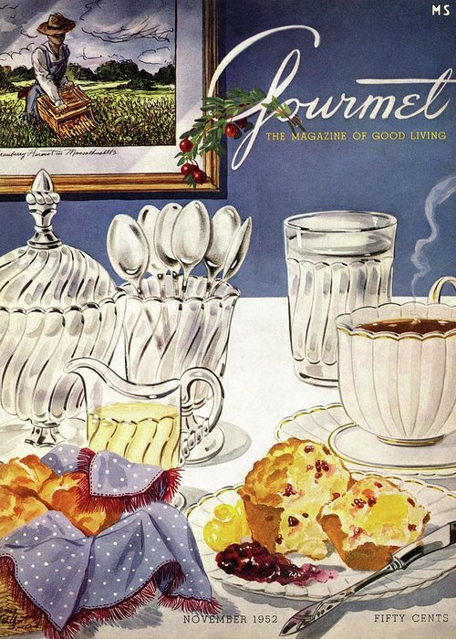 Food Greeting Card featuring the photograph Gourmet Cover Illustration Of Cranberry Muffins by Henry Stahlhut