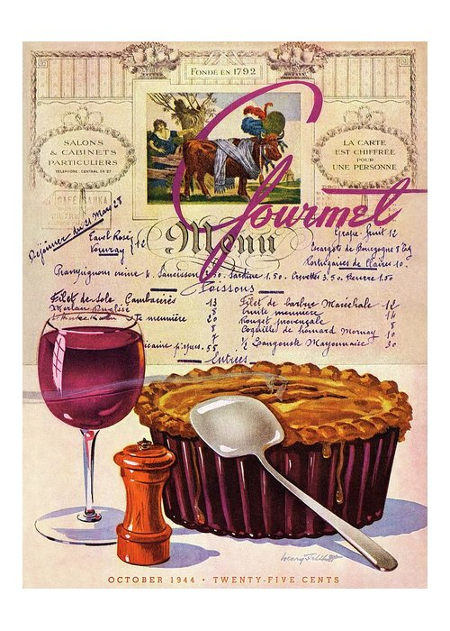 Food Greeting Card featuring the photograph Gourmet Cover Illustration Of Deep Dish Pie by Henry Stahlhut
