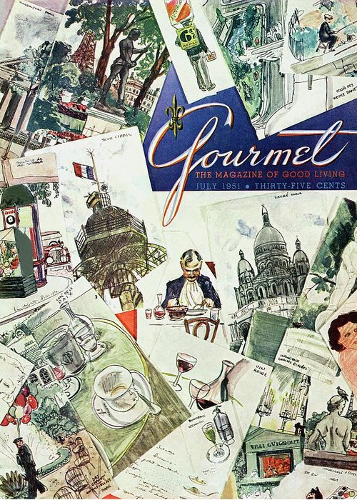 Illustration Greeting Card featuring the photograph Gourmet Cover Illustration Of Drawings Portraying by Henry Stahlhut