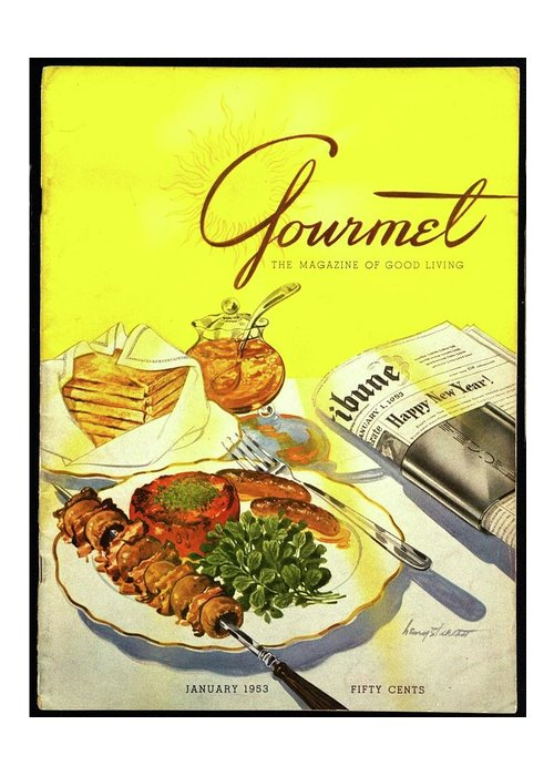 Illustration Greeting Card featuring the photograph Gourmet Cover Illustration Of Grilled Breakfast by Henry Stahlhut