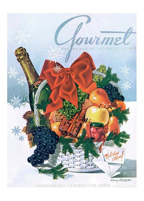 Food Greeting Card featuring the photograph Gourmet Cover Illustration Of Holiday Fruit Basket by Henry Stahlhut