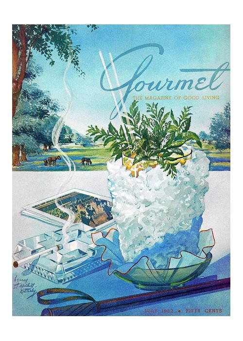 Food Greeting Card featuring the photograph Gourmet Cover Illustration Of Mint Julep Packed by Henry Stahlhut