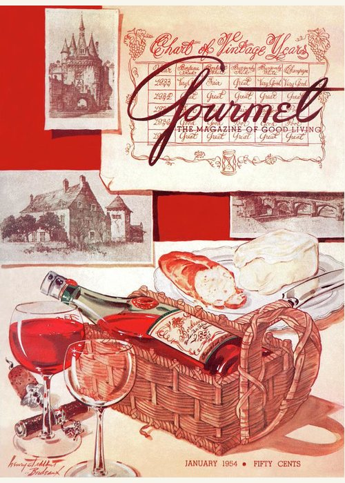 Food Greeting Card featuring the painting Gourmet Cover Of A Bottle Of Bordeaux by Henry Stahlhut