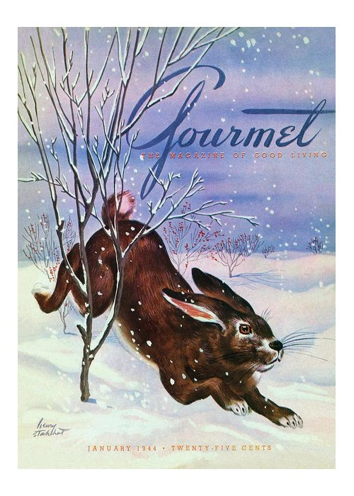 Illustration Greeting Card featuring the photograph Gourmet Cover Of A Rabbit On Snow by Henry Stahlhut