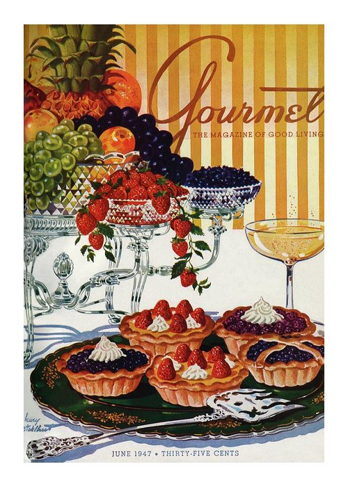 Food Greeting Card featuring the photograph Gourmet Cover Of Fruit Tarts by Henry Stahlhut