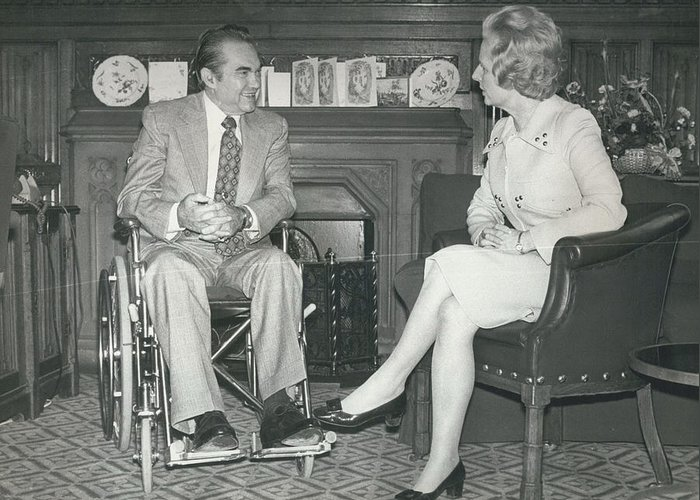 retro Images Archive Greeting Card featuring the photograph Governor George Wallace Meets Mrs Margeret Thatcher At The by Retro Images Archive