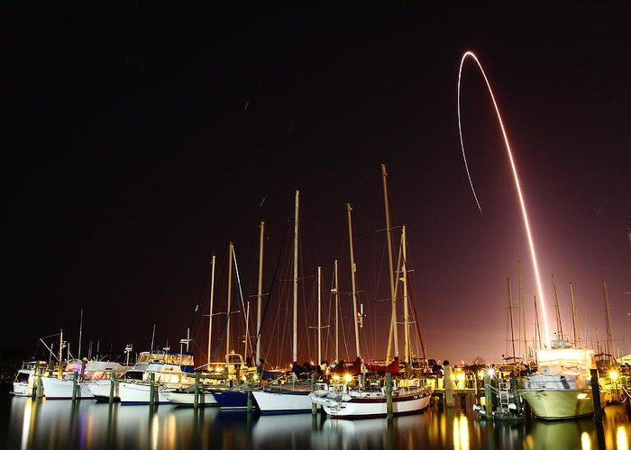 Rocket Greeting Card featuring the photograph Gps Launch Over The Marina by John Moss
