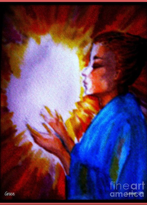 Worship Greeting Card featuring the painting Grace - 1 by Leanne Seymour