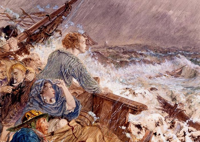 Grace Darling Greeting Card featuring the drawing Grace Darling And Her Father Saving by William Bell Scott