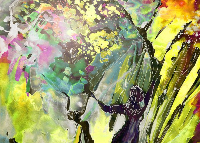 Fantasy Greeting Card featuring the painting Grace Under Pressure by Miki De Goodaboom